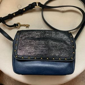 Fossil crossbody purse, shimmer and studded blue